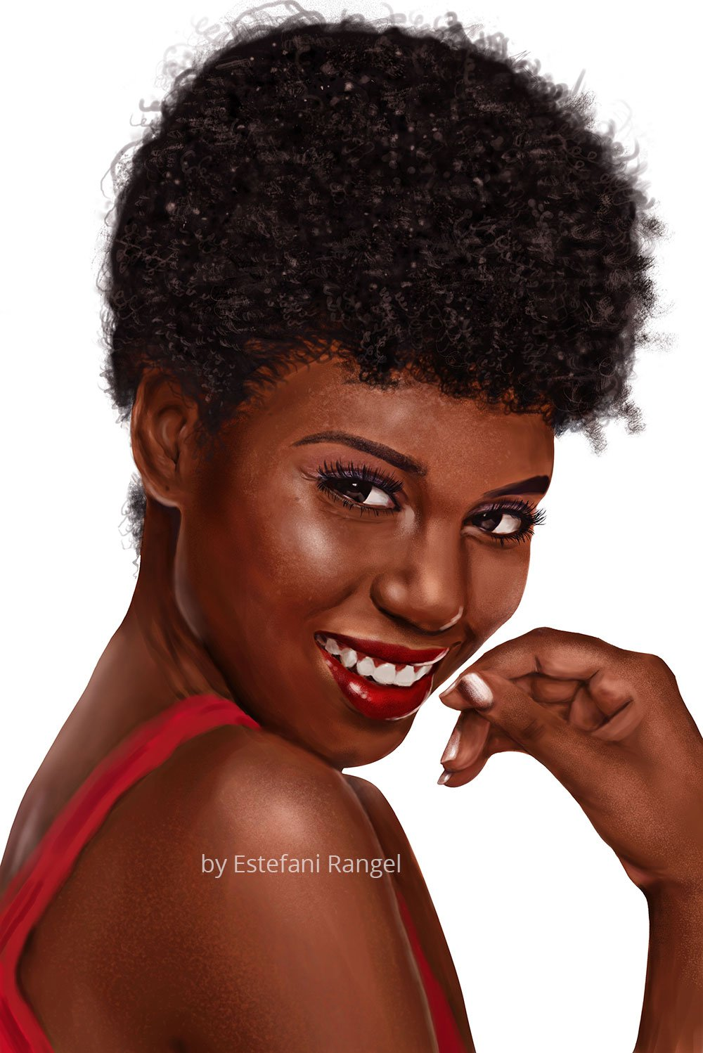 Realistic portrait woman Red dress curly hair